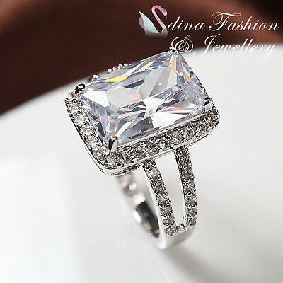 18K White Gold Plated Simulated Diamond Split Band Radiant Cut Engagement Ring
