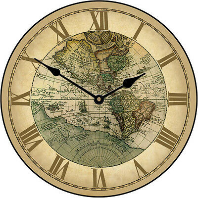 "Large wall clock, 1596 World Map Clock 12""-48"" Whisper Quiet, Non-Ticking"