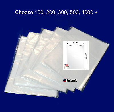 """100 - 1000 7x9"""" Clear Poly Bags 1Mil LDPE Layflat Open Top End Plastic Baggies"""