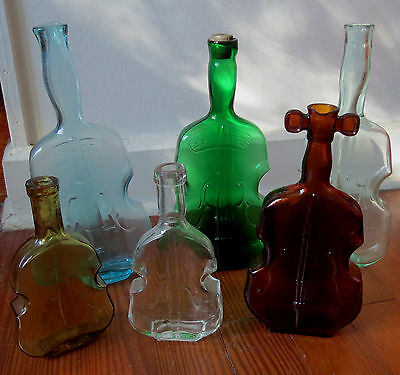 6 Nice Old VIOLIN CELLO BOTTLES in a VARIETY of COLORS - FIGURAL