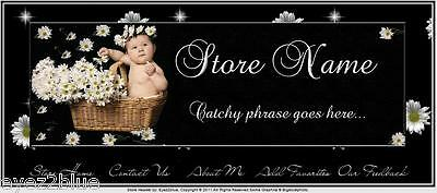 Baby and Daisies Animated Ebay Store Front Header Package