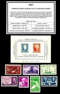 1947 Complete Year Set Of Mint -Mnh- Vintage U.s. Postage Stamps