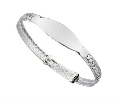 925 Sterling Silver Child's Baby's Christening ID Bangle Bracelet Expandable