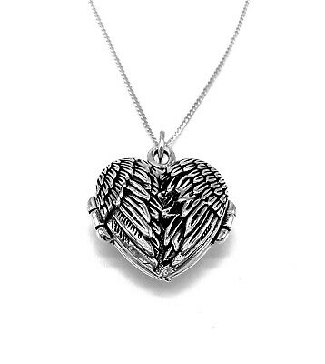 "925 Sterling Silver HEART Locket Opening Angel Wings Pendant and 18"" Curb Chain"