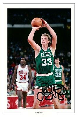 Larry Bird Boston Celtics Signed Photo Print Basketball Autograph