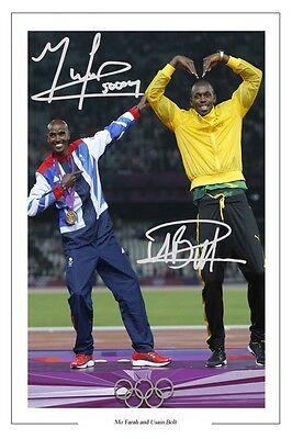 Mo Farah And Usain Bolt The Mobot Autograph Signed Photo Print Poster