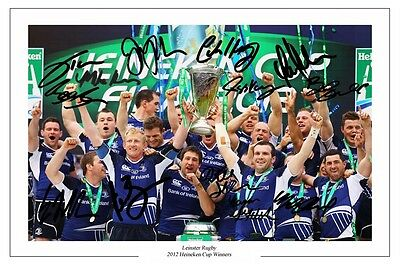 Leinster Rugby Squad 2012 Heineken Cup Winners Autograph Signed Photo Print