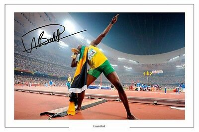 Usain Bolt 100 Metres Autograph Signed Photo Print Poster