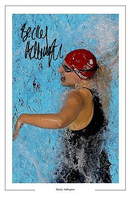 Rebecca Adlington Swimming Autograph Signed Photo Print Becky