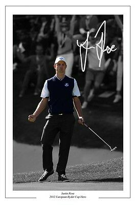 Justin Rose 2012 Ryder Cup Signed Autograph Photo Print