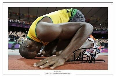 Usain Bolt 2012 Gold 100 Metres Autograph Signed Photo Print Poster