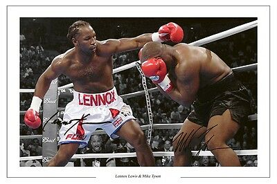Lennox Lewis And Mike Tyson Boxing Signed Autograph Photo Print