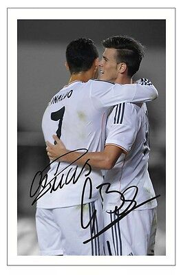 Cristiano Ronaldo & Gareth Bale Real Madrid Autograph Signed Photo Soccer
