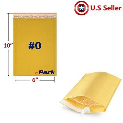 25 #0 6x10 KRAFT BUBBLE MAILERS PADDED SELF SEAL SHIPPING BAGS ENVELOPES