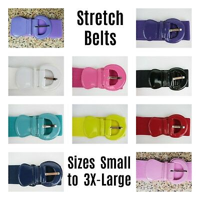 Patent Stretch Belts 50s Rockabilly PinUp Plus Belt Cinch Red Black S - 3XL