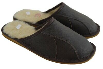 Natural Leather And Sheep's Wool Linning Brown Black Mens Slippers Shoes Mule