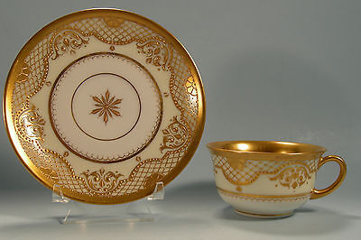 Exquisite Dresden Cup and Saucer Lavish Raised Gold Decoration Beads NO RESERVE