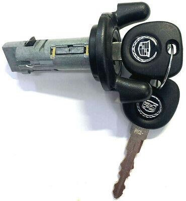 New Cadillac Cts 2003-2007 Ignition Lock Cylinder Switch W/ 2 Chipped Logo Keys