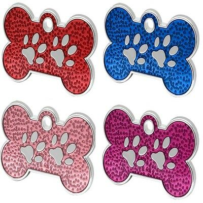 Engraved Pet ID Tags DOG Bone&Paw 28mm Disc Engraved Free By Computer Free Post
