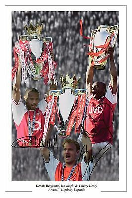 Dennis Bergkamp Thierry Henry Ian Wright Arsenal Autograph Signed Photo