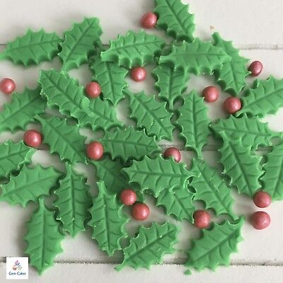 25 Edible Christmas Holly Leaves Berries Sugar Cake Cupcake Decorations Toppers