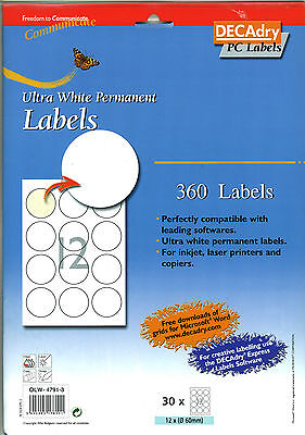 Decadry OLW-4791-3 Permanent 60mm Round White Labels