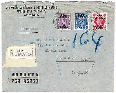 BMA ERITREA, 1949 commercial registered airmail cover ASMARA to GB, 1s20 rated