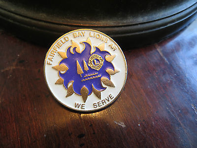 Fairfield Bay Lions AR, We Serve, pin, fraternity, round pin