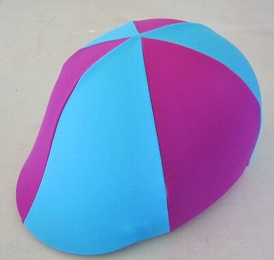 Horse Helmet Cover ALL AUSTRALIAN MADE Hot pink & Sky Blue Any size you need