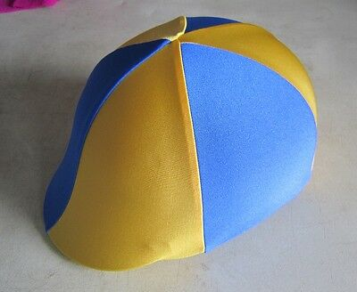 Horse Helmet Cover ALL AUSTRALIAN MADE Royal blue & Yellow Any size you need