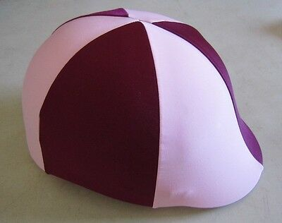 Horse Helmet Cover ALL AUSTRALIAN MADE Burgundy & Pale Pink Any size you need