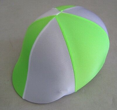 Horse Helmet Cover ALL AUSTRALIAN MADE Lime green & White Any size you need