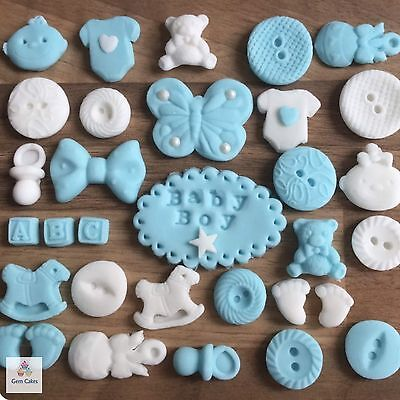 32 Edible Blue Baby Boy Sugar Christening Shower Cake Cupcake Decorations Topper