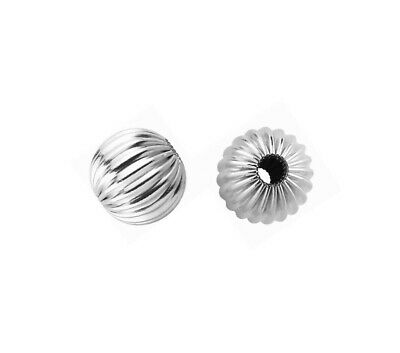 2x BRIGHT STERLING SILVER CORRUGATED ROUND BEAD 9mm #084