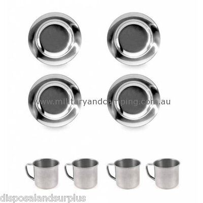 NEW STAINLESS STEEL CAMPING DINNER SET 4x 22CM PLATES + 4 x 8CM MUGS CAMP COOK