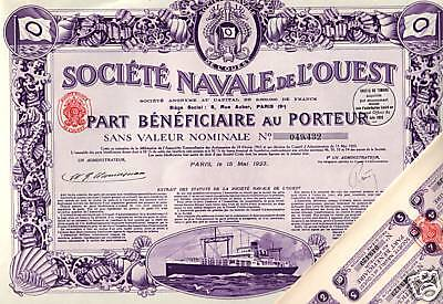 GIANT MINT 1923 FRANCE MARITIME BOND! DECO DELIGHT w SHIP/SEAHORSES/ALL COUPONS!