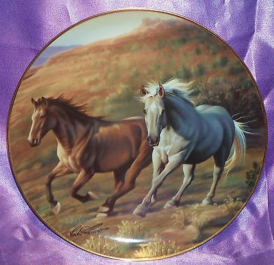 Vintage ~ Signed Running Free Franklin Mint Horses Plate ~ Collectable