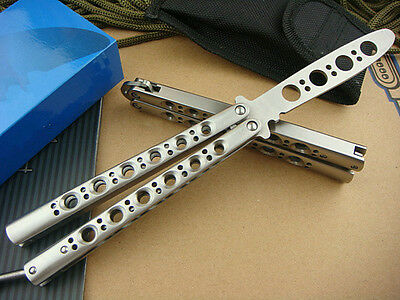 Practice CHANNEL BALISONG METAL BUTTERFLY Trainer Knife w/ screw driver & sheath