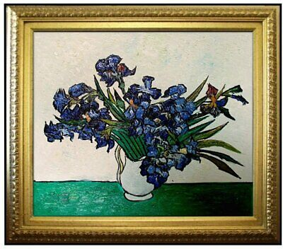 Framed, Van Gogh Vase with Irises Repro, Hand Painted Oil Painting 20x24in