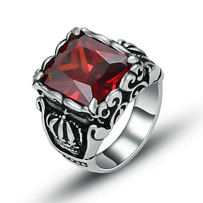 Wholesale Lot 4Pcs Mens Stainless Steel Crown Red CZ Zircon Stone Rings Jewelry