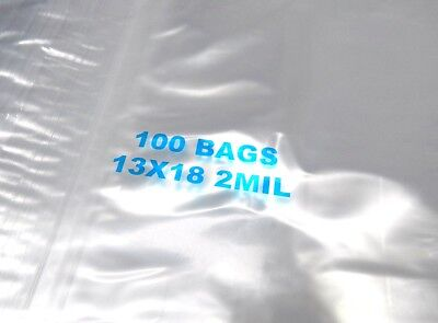 "13x18 Ziplock Bags Clear 2 Mil Poly Reclosable Large Jumbo Size 13""x18"" 100 Pcs"