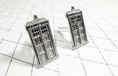 Police Box Cuff Links, pewter, inspired by Doctor Who and the TARDIS