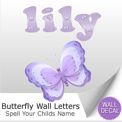 Wall Letter Alphabet Initial Sticker Vinyl Stickers Decals Lavender Butterfly