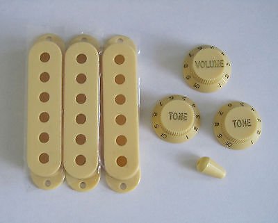 Vintage Cream Strat Knobs,ST Pickup Covers and Switch Tip!