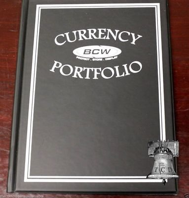 BCW Album Currency Portfolio 3 Pocket 10 Pages BLACK Banknote Holder Binder Case