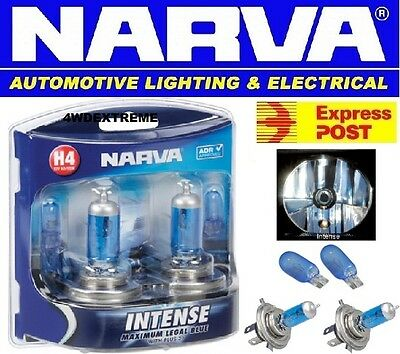 Narva H4 Intense Maximum Legal Blue With +30% T10 4200K Halogen Bulbs 48472Bl2