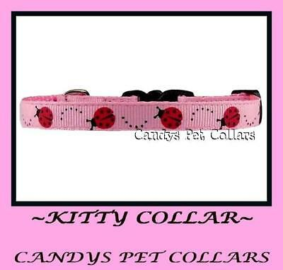 "* Handmade *pink Ladybird Cat Kitten Collar 9"" With Bell & Charm"