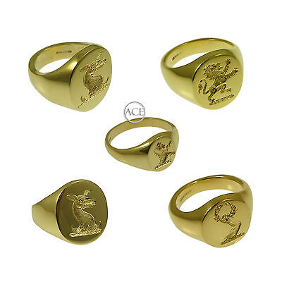 9ct Yellow Gold YOUR Family Crest Rings Oval Signet Rings 375 Fully UK HM Solid