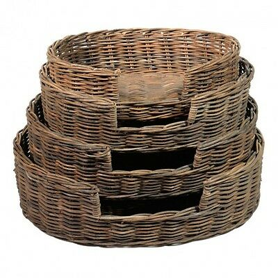 Rattan Pet Bed Basket Round Cut Out Front Pet Dog Cat Kittens Pup In Four Sizes