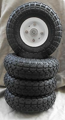"""4 Tires 10"""" New Steel Air Pneumatic, Hand Truck Dolly, Wagon  Wheel"""